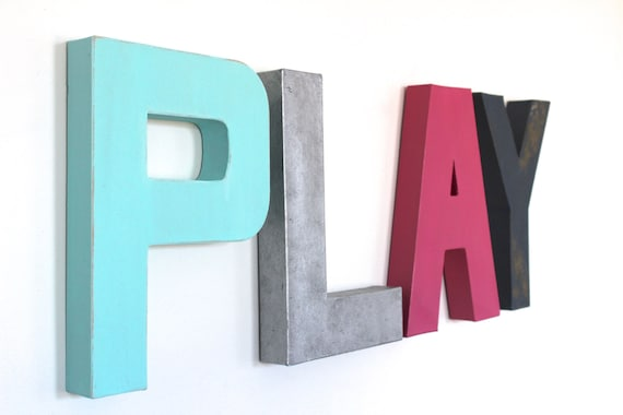 Decorative Letters Playroom Play Sign Pastel Kids Room Decor Pastel Letters Pastel Nursery Neutral Nursery Mint Sign Play