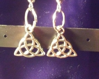 celtic triangle drop earrings