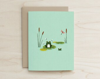 Frog Buddies Card, Pond, lilly pad, dragonfly, card