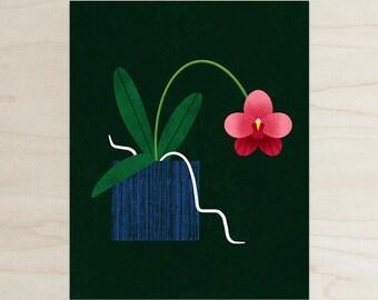 Orchid Print, Modern Flower Print, Wall Art, Home Decor
