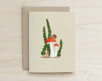 Mushroom Buddies Card, Worm, Snail, card