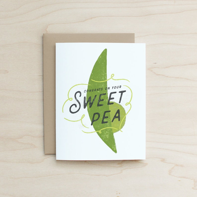 Fun Card Pregnancy Card Expecting Card Baby Shower Card Congrats on your Sweet Pea Card