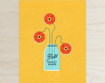 Poppies in a Ball Jar Print, Flower Print, Bright Modern Print, Wall Art, Home Decor