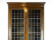 Antique Display Cabinet, Antique Four Door Leaded Glass Barley Twist Oak Bookcase, Scotland 1910, Antique Furniture, B1405