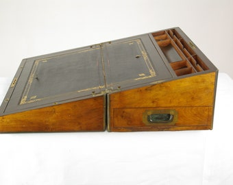 Antique Writing Slope, Large Victorian Inlaid Brass Walnut Lap Desk With  Fitter Interior, Scotland 1860s, Antique Furniture, B1442