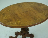 Inlaid Walnut Table, Carved Base, Scotland 1870, Antique Furniture, REDUCED B287x