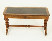 Antique Library Table, Writing Table, Free Standing, Burr Walnut, Victorian, Scotland 1870, Antique Furniture, B1546
