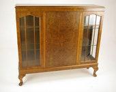 Antique Walnut Bookcase, Three Door Bookcase, Scotland 1930, Antique Furniture, B1189