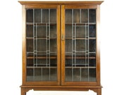 Antique Walnut Cabinet, Leaded Glass Bookcase, Antique Display Cabinet, Scotland 1910, Antique Furniture, B1392