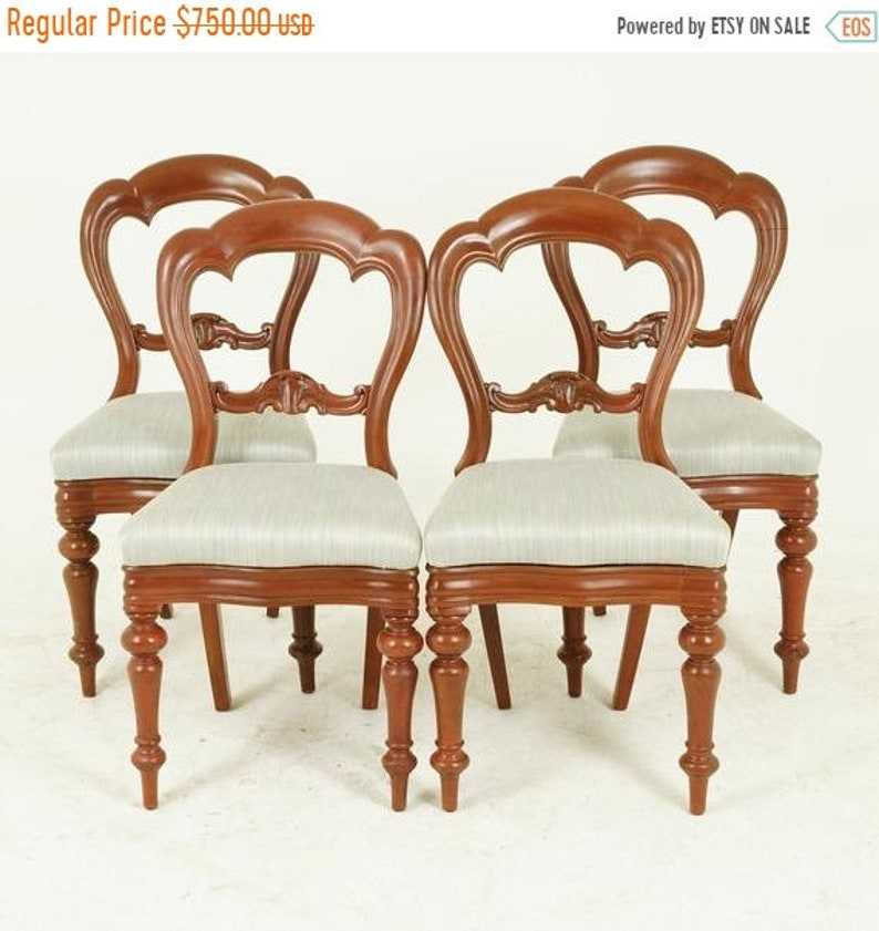 BACK To SCHOOL SALE Antique Dining Chairs, 4 Balloon Back Chairs, Walnut,  Victorian, Scotland 1880, Antique Furniture, B1541
