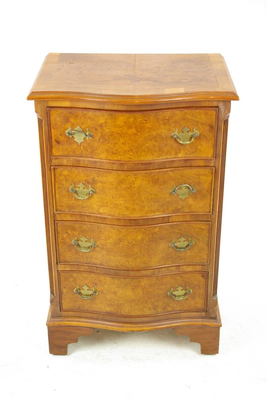 Antique Walnut Dresser Vintage Petite Burr Serpentine Chest Of Drawers Night Stand Lamp Table Antique Furniture Scotland 1940s B1380