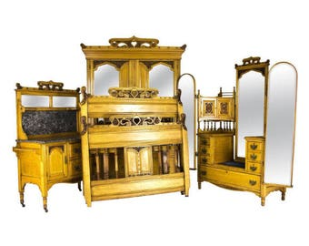 Antique Bed, Dresser, Washstand and Armoire | Art Nouveau 4 piece Bedroom Suite | Scottish Carved Walnut |  From 1890 | B743