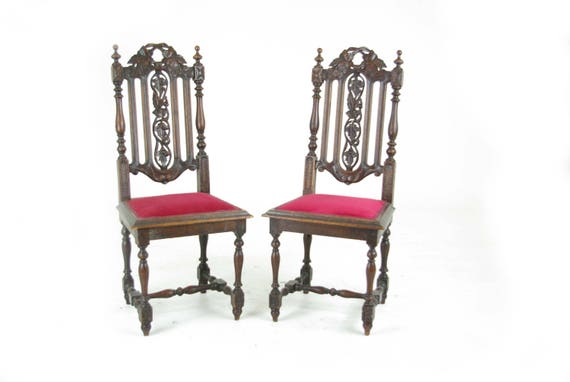 Antique Hall Chairs, Pair Victorian Hall Chairs, Scotland 1880, B763 - Antique Hall Chairs Pair Victorian Hall Chairs Scotland Etsy