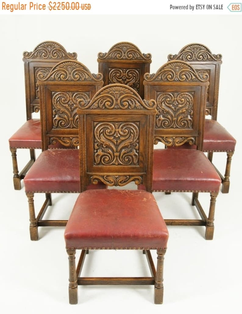BACK To SCHOOL SALE Antique Dining Chairs, Renaissance Revival Chairs, 6+2  Chairs, Oak , Canada 1930, Antique Furniture, B1523