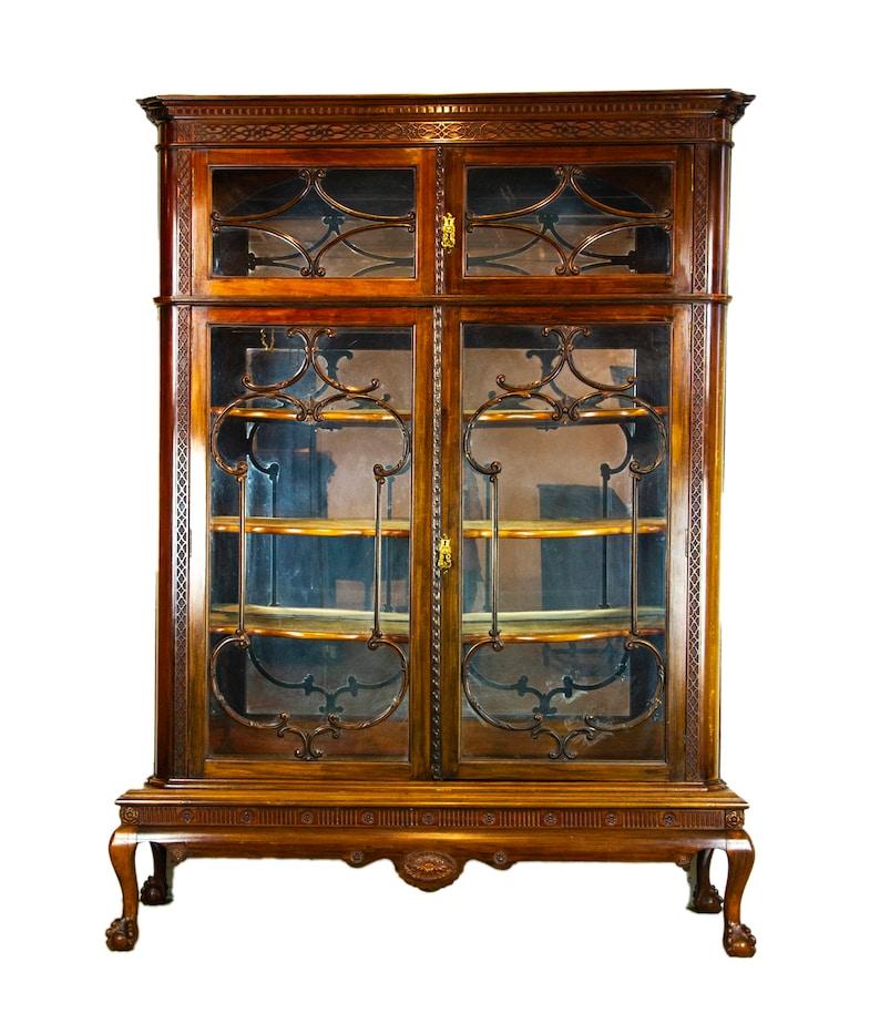 Charmant Antique Display Cabinet, Walnut Display, China Cabinet, Antiques Furniture,  Scotland 1920, B1501