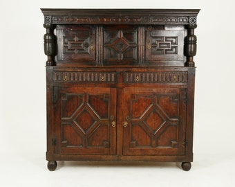 Antique Early Victorian Oak Court Cupboard Sideboard, Scotland 1800, B2422