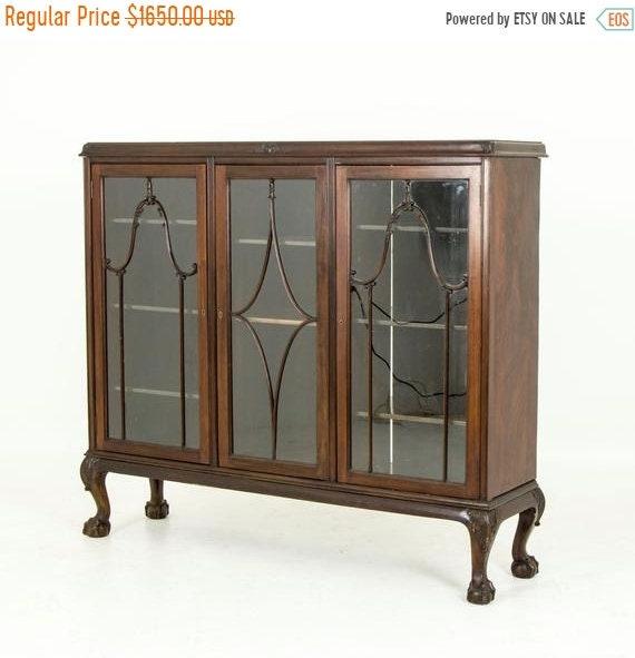 Summer Sale Antique Bookcase, Chippendale Bookcase, Walnut Bookcase,  Display Case, China Cabinet, Curio Cabinet, B587