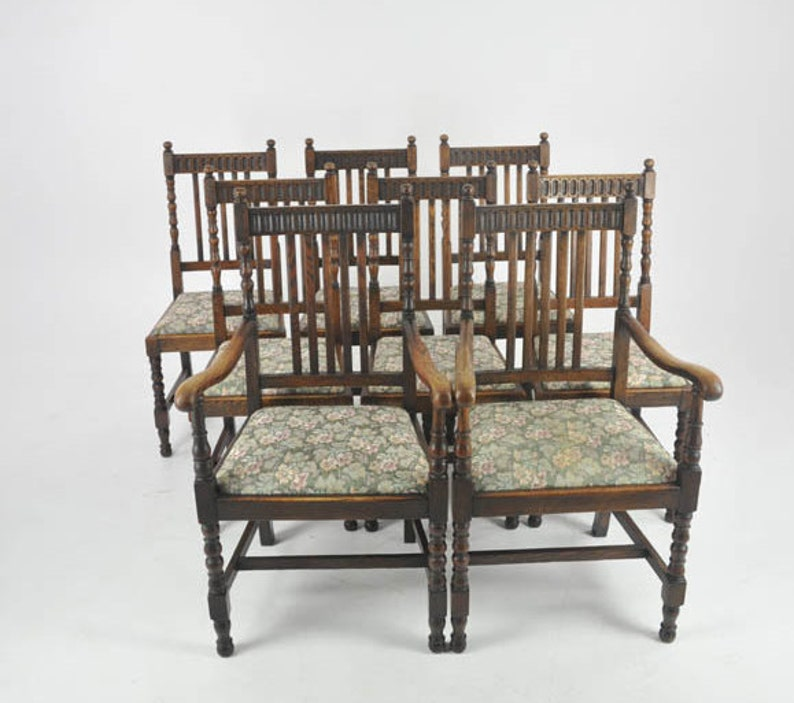 Antique Dining Chairs >> Antique Dining Chairs 8 Highback Chairs Oak France 1900 Etsy