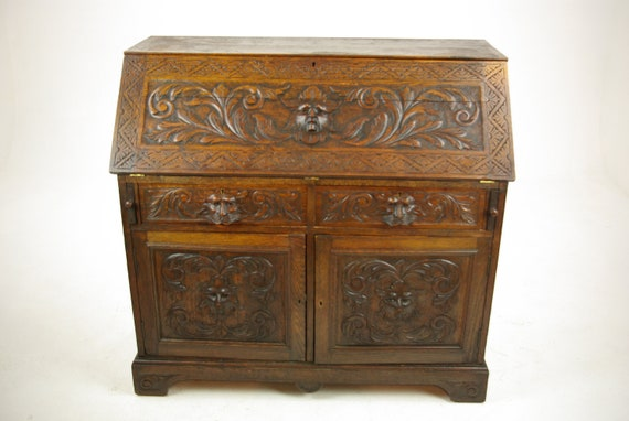 image 0 - Slant Front Desk Antique Oak Desk Carved Oak Desk Scotland Etsy