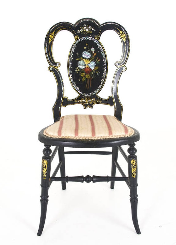image 0 - Antique Chair Black Laquered Chair Victorian England 1870 Etsy