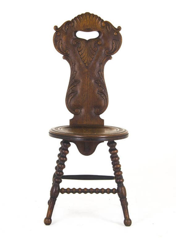 image 0 - Antique Hall Chair Carved Oak European 1910 Antique Etsy