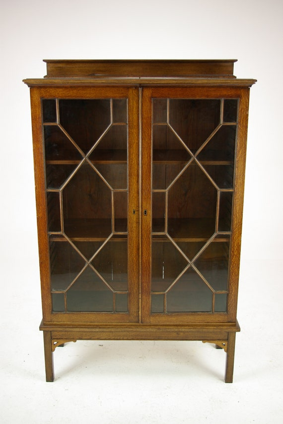 Antique Oak Bookcase Two Door Bookcase Astragal Glass Etsy