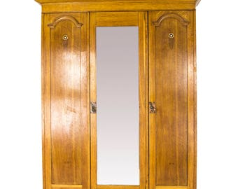 Antique Armoire | Antique Wardrobe | Triple Mirror Arts and Crafts Wardrobe |Glasgow School, Scotland, 1910 | B717