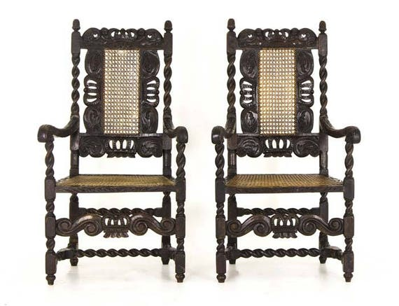 image 0 - Antique Jacobean Chairs Barley Twist Arm Chairs Scotland Etsy