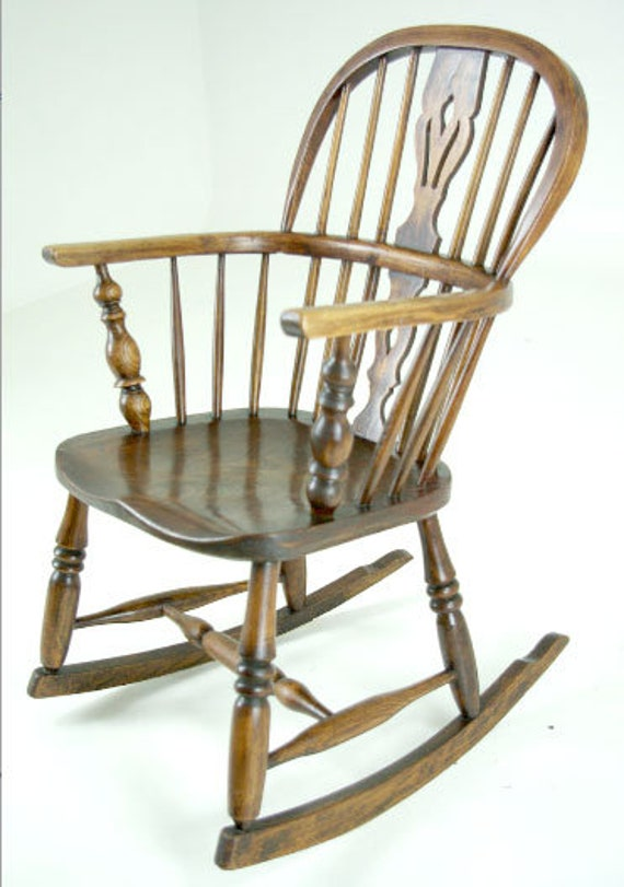 image 0 - Antique Childs Rocking Chair, Small Rocking Chair, Victorian Windsor,  Scotland 1880, B431
