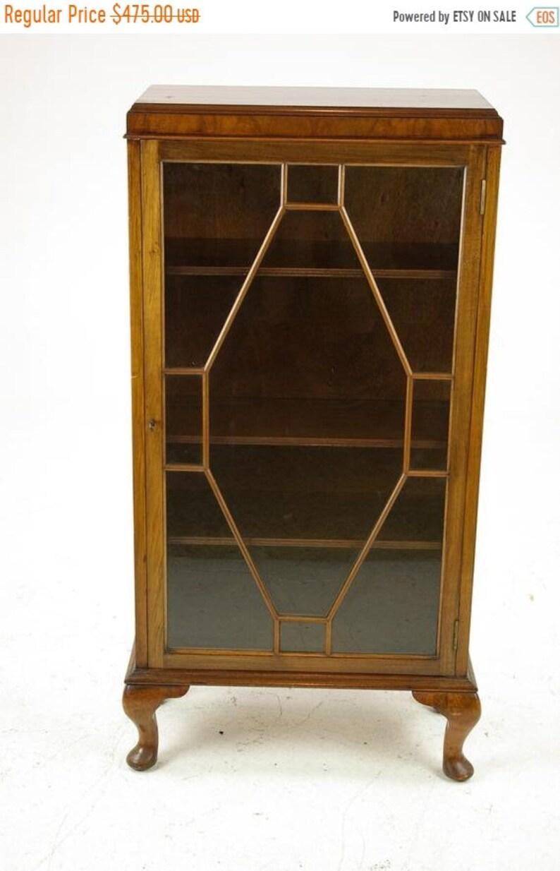 Scotland 1930 Antique Furniture Summer Sale Petite Single Door Cabinet Antique China Cabinet B1331 Walnut Curio Cabinet