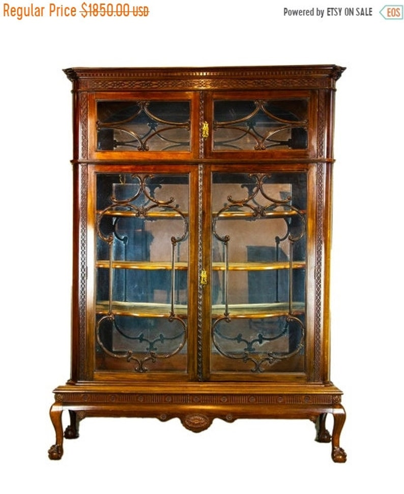 BACK To SCHOOL SALE Antique Display Cabinet, Walnut Display, China Cabinet,  Antiques Furniture, Scotland 1920, B1501