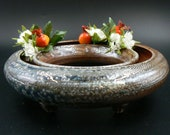 thrown handmade Ikebana Vase, wood and sodafired, Table Centerpiece, Ceramic Pansy Ring, pottery flower ring, Pottery Birthday Gift