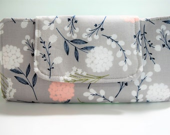 Gray Wallet, Women's Wallet, Wallets for Women, Gray Floral, Navy Floral, Pink, Fabric Wallet, Travel Wallet, Large Wallet, Mom Gift