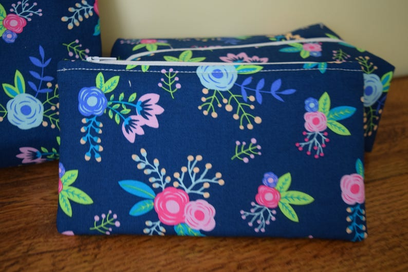 Navy Makeup Bags for Woman Women Toiletry Bag Ready to Ship Gift for Her Mom Gift Navy Floral Travel Bags 3 piece Toiletry Set