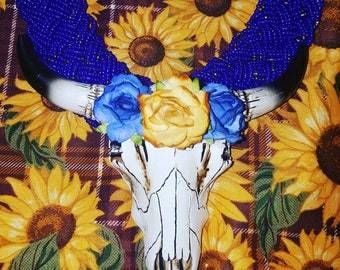 Blue Braided Longhorn Necklace