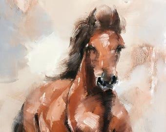 """Yuanjian Wang 046 24x48"""" Horse"""