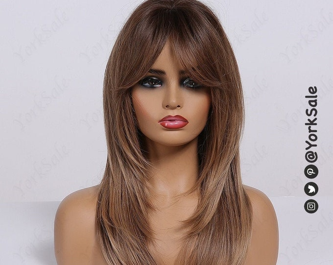 Lucy   Chocolate Brown Dark Rooted Ombre Synthetic Wig