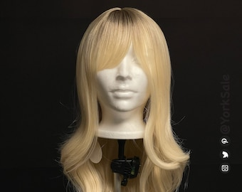 Curled Long Light Gold Blonde with Dark Roots Synthetic Wig with Bangs for Black & White Women | Natural Look Hair | Heat Resistant