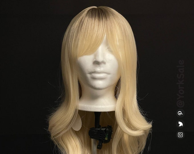 Alia Curled Long Light Gold Blonde with Dark Roots Synthetic Wig with Bangs for Black & White Women | Natural Look Hair | Heat Resistant