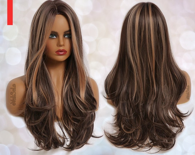 Dark Brown Honey Highlight Wavy Synthetic Wig for Black & White Women   Natural Look Hair Wig   Heat Resistant   Long Wavy   Layered Ombre