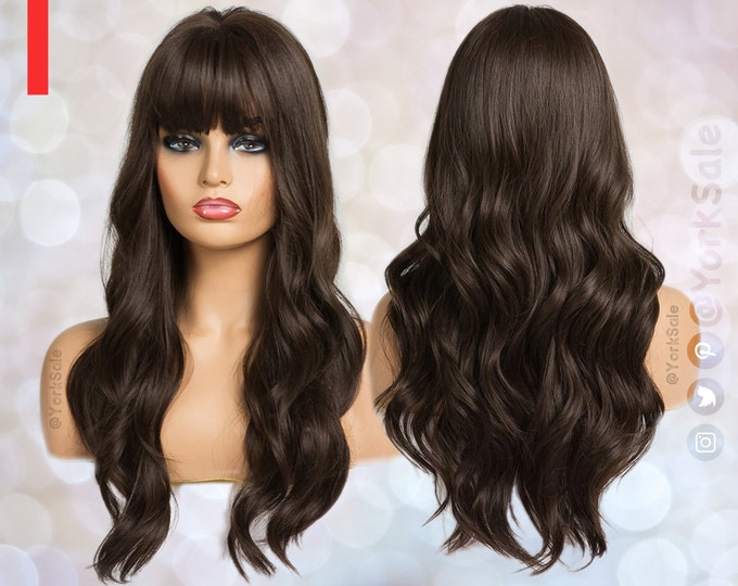 Featured listing image: Dark Brown Long Synthetic Wig | Natural Looking Hair No Lace Front Long Wig With Bangs | Water Wavy | Heat ResistantValentines' day gifts