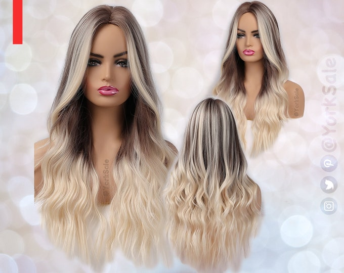 Face Balayage Long Brown to Blonde Synthetic Wig   Natural Looking Hair No Lace Front Long Wig   Water Wavy   Heat Resistant