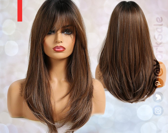 Long Straight Medium Brown with Blonde Highlights Wig with Bangs for Black & White Women   Natural Look Synthetic Wigs   Heat Resistant