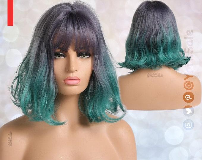 Eva   Purple Green Turquoise Bob Cut Wavy Short Synthetic Wig