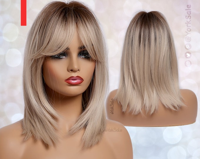 Featured listing image: Dark Rooted Blonde Ombre Synthetic Wig with Bangs for Black & White Women, Medium Length Layered Natural Look Hair, Heat Resistant Wig