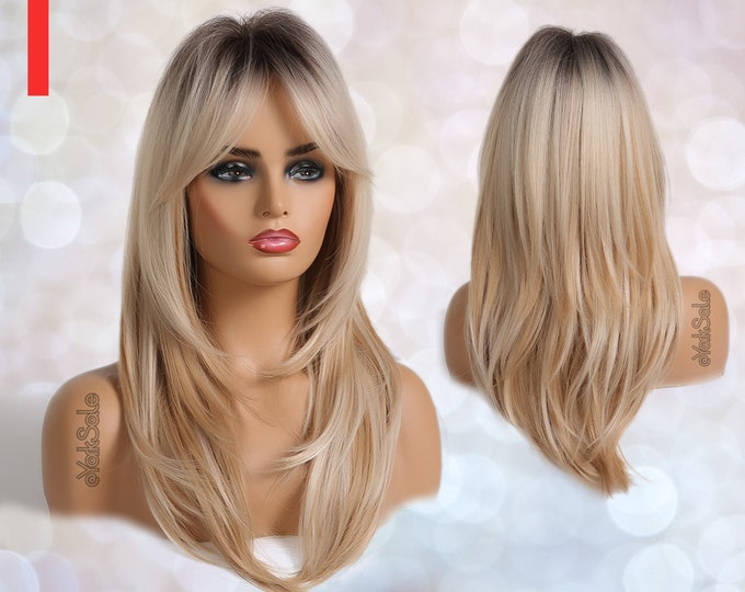 Scarlett   Dark Rooted Blonde Ombre Synthetic Wig