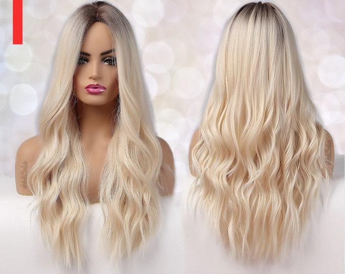 Zoe   Light Blonde Platinum Dark Root Synthetic Wig
