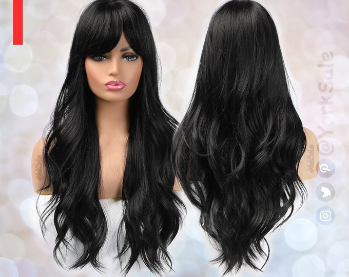 Bella   Black Long Synthetic Wig with Bangs