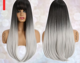 Black to Silver Straight Wig for Black & White Women   Natural Look Hair Long Dark Roots Bangs Synthetic Wigs   Long Straight Heat Resistant