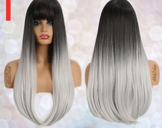 Julia | Black to Silver Straight Wig